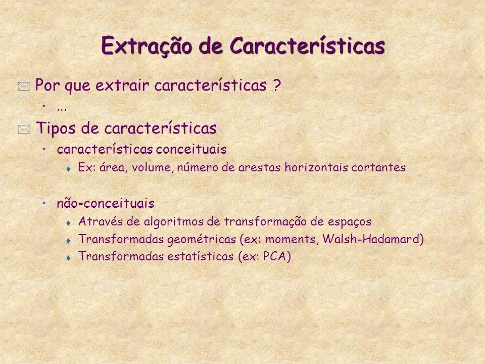 Extração de Características * Por que extrair características ?... * Tipos de características características conceituais t Ex: área, volume, número d