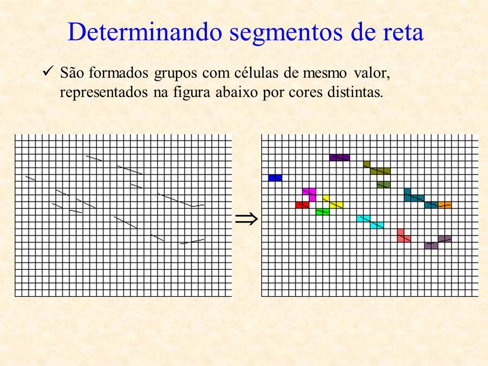 Determinando segmentos de reta São formados grupos com células de mesmo valor, representados na figura abaixo por cores distintas.