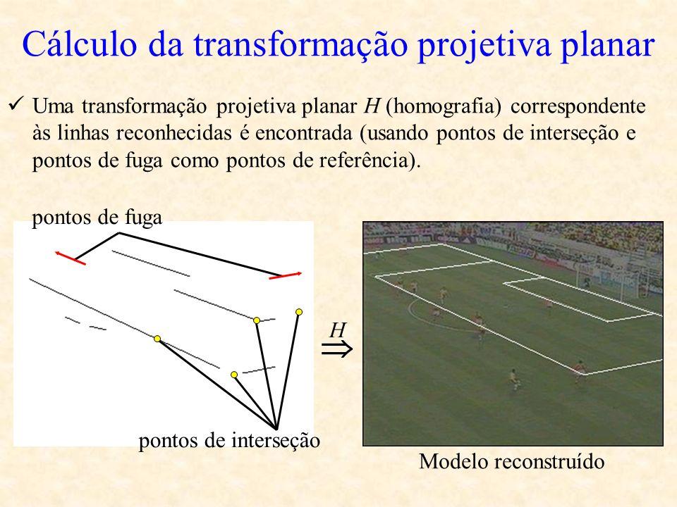Cálculo da transformação projetiva planar Uma transformação projetiva planar H (homografia) correspondente às linhas reconhecidas é encontrada (usando