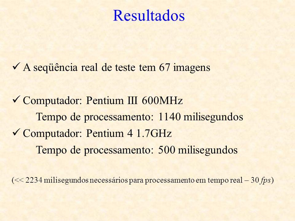 A seqüência real de teste tem 67 imagens Computador: Pentium III 600MHz Tempo de processamento: 1140 milisegundos Computador: Pentium 4 1.7GHz Tempo d