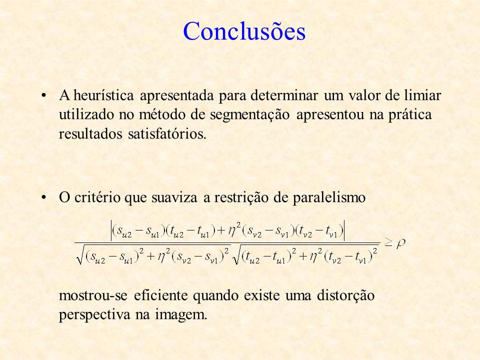 Conclusões A heurística apresentada para determinar um valor de limiar utilizado no método de segmentação apresentou na prática resultados satisfatóri