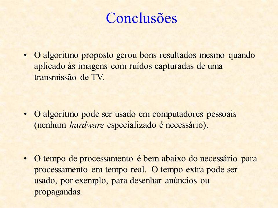 Conclusões O algoritmo proposto gerou bons resultados mesmo quando aplicado às imagens com ruídos capturadas de uma transmissão de TV. O algoritmo pod