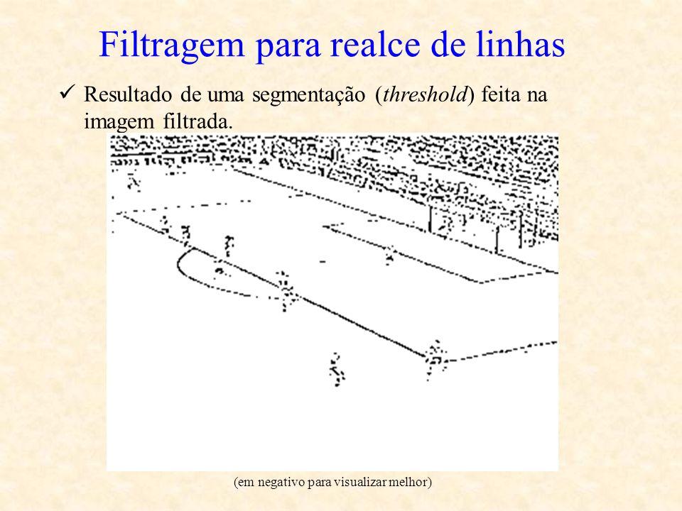 Filtragem para realce de linhas Resultado de uma segmentação (threshold) feita na imagem filtrada. (em negativo para visualizar melhor)