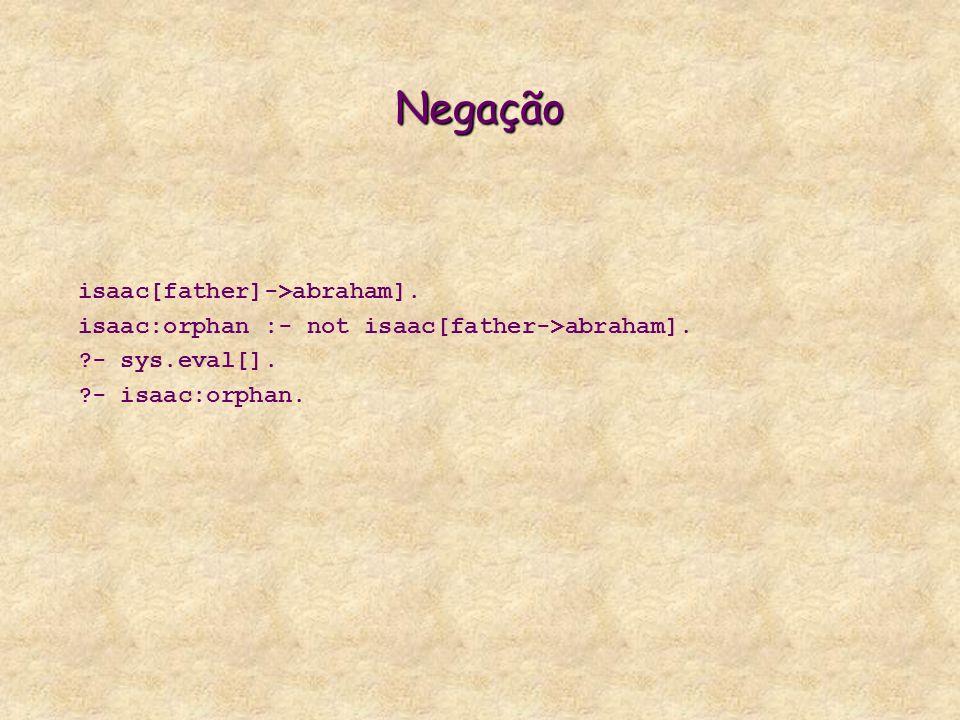 Negação isaac[father]->abraham]. isaac:orphan :- not isaac[father->abraham].