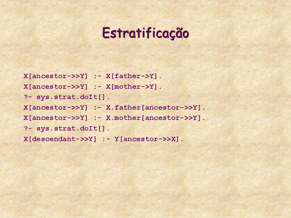 Estratificação X[ancestor->>Y] :- X[father->Y]. X[ancestor->>Y] :- X[mother->Y]. ?- sys.strat.doIt[]. X[ancestor->>Y] :- X.father[ancestor->>Y]. X[anc
