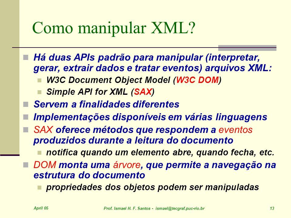 April 05 Prof. Ismael H. F. Santos - ismael@tecgraf.puc-rio.br 13 Como manipular XML.
