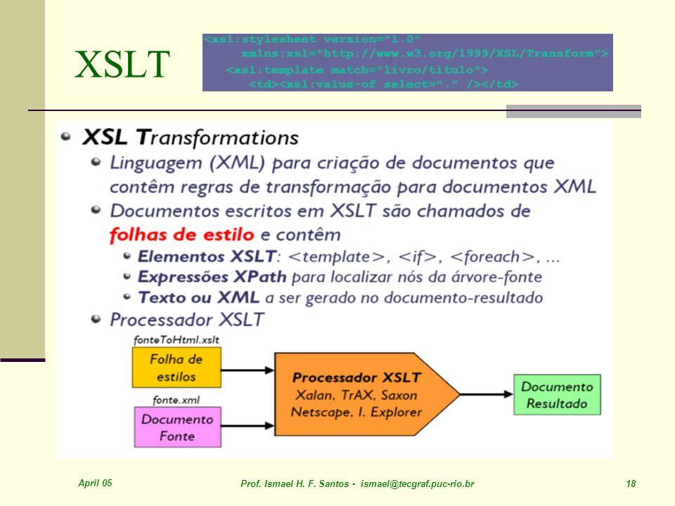 April 05 Prof. Ismael H. F. Santos - ismael@tecgraf.puc-rio.br 18 XSLT
