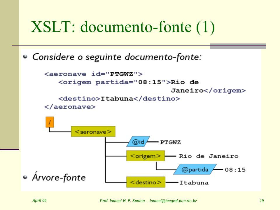 April 05 Prof. Ismael H. F. Santos - ismael@tecgraf.puc-rio.br 19 XSLT: documento-fonte (1)