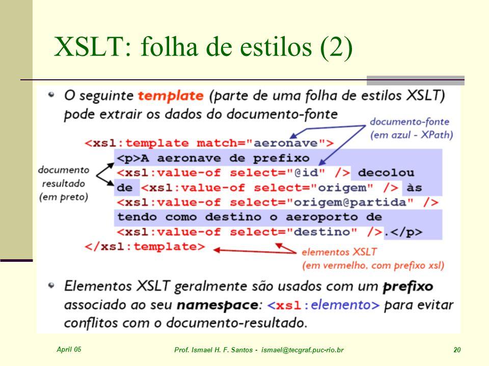 April 05 Prof. Ismael H. F. Santos - ismael@tecgraf.puc-rio.br 20 XSLT: folha de estilos (2)