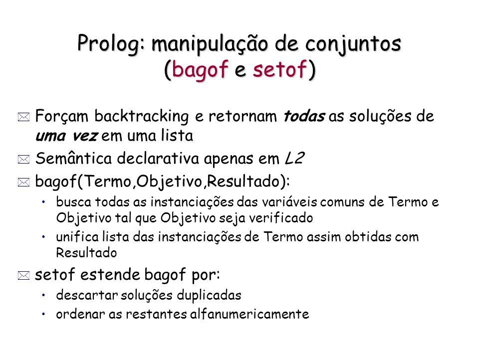 Prolog: manipulação de conjuntos (bagof e setof) * Forçam backtracking e retornam todas as soluções de uma vez em uma lista * Semântica declarativa ap