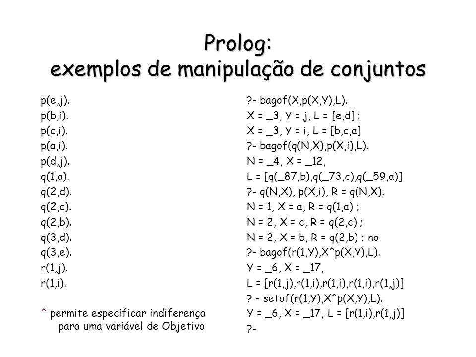 Prolog: exemplos de manipulação de conjuntos p(e,j). p(b,i). p(c,i). p(a,i). p(d,j). q(1,a). q(2,d). q(2,c). q(2,b). q(3,d). q(3,e). r(1,j). r(1,i). ^
