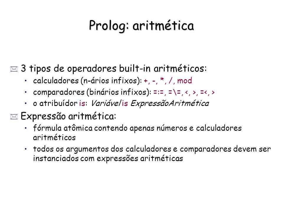 Prolog: aritmética * 3 tipos de operadores built-in aritméticos: calculadores (n-ários infixos): +, -, *, /, mod comparadores (binários infixos): =:=,