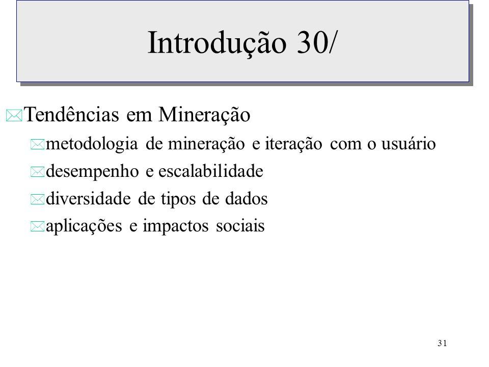 31 Introdução 30/ * Tendências em Mineração * metodologia de mineração e iteração com o usuário * desempenho e escalabilidade * diversidade de tipos d