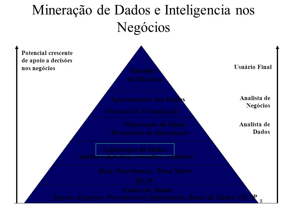 8 Mineração de Dados e Inteligencia nos Negócios Potencial crescente de apoio a decisões nos negócios Usuário Final Analista de Negócios Analista de D