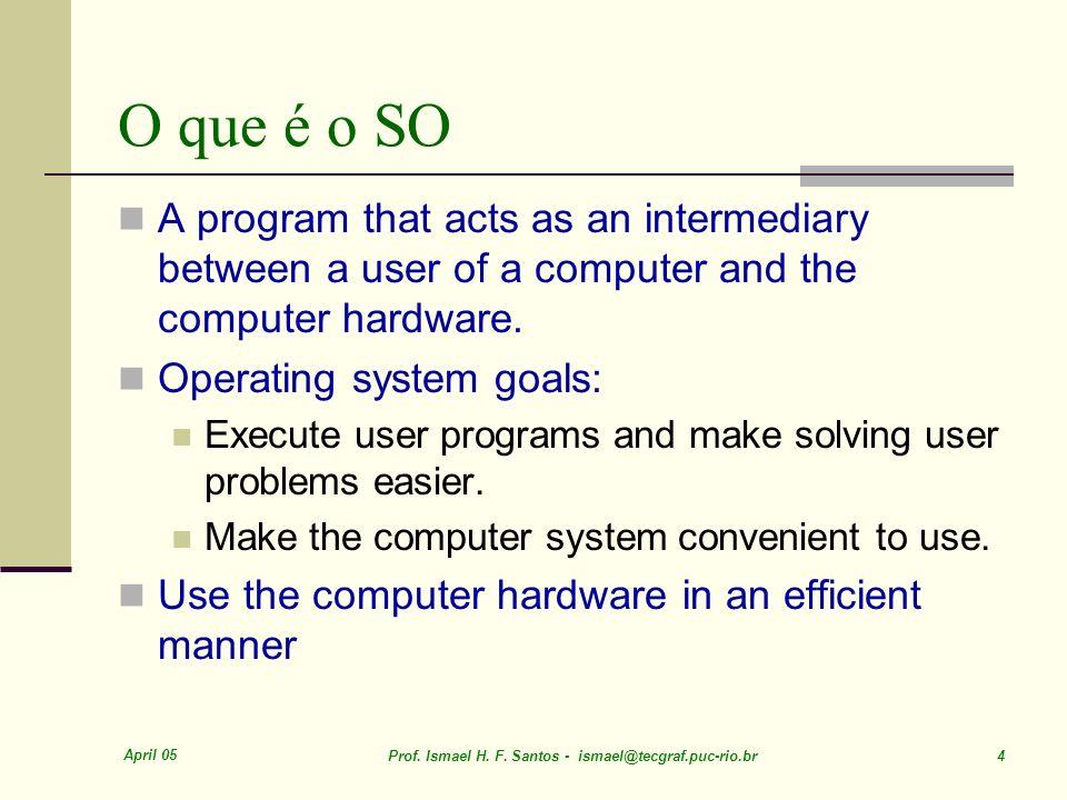 April 05 Prof. Ismael H. F. Santos - ismael@tecgraf.puc-rio.br 4 O que é o SO A program that acts as an intermediary between a user of a computer and