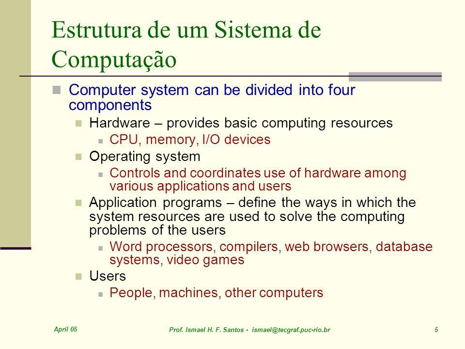 April 05 Prof. Ismael H. F. Santos - ismael@tecgraf.puc-rio.br 5 Estrutura de um Sistema de Computação Computer system can be divided into four compon