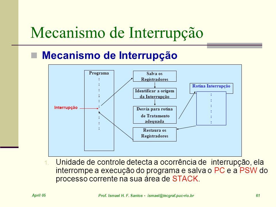April 05 Prof. Ismael H. F. Santos - ismael@tecgraf.puc-rio.br 61 Mecanismo de Interrupção 1. Unidade de controle detecta a ocorrência de interrupção,