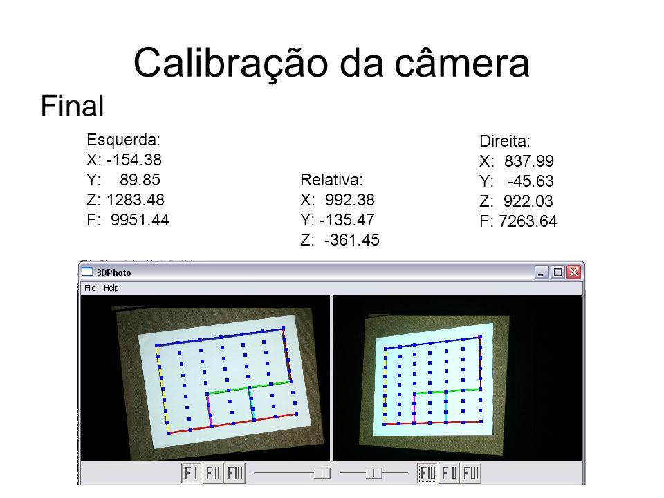 Calibração da câmera Final Esquerda: X: -154.38 Y: 89.85 Z: 1283.48 F: 9951.44 Direita: X: 837.99 Y: -45.63 Z: 922.03 F: 7263.64 Relativa: X: 992.38 Y