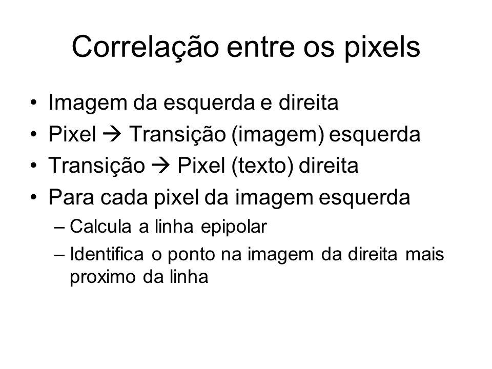 Correlação entre os pixels Imagem da esquerda e direita Pixel Transição (imagem) esquerda Transição Pixel (texto) direita Para cada pixel da imagem es