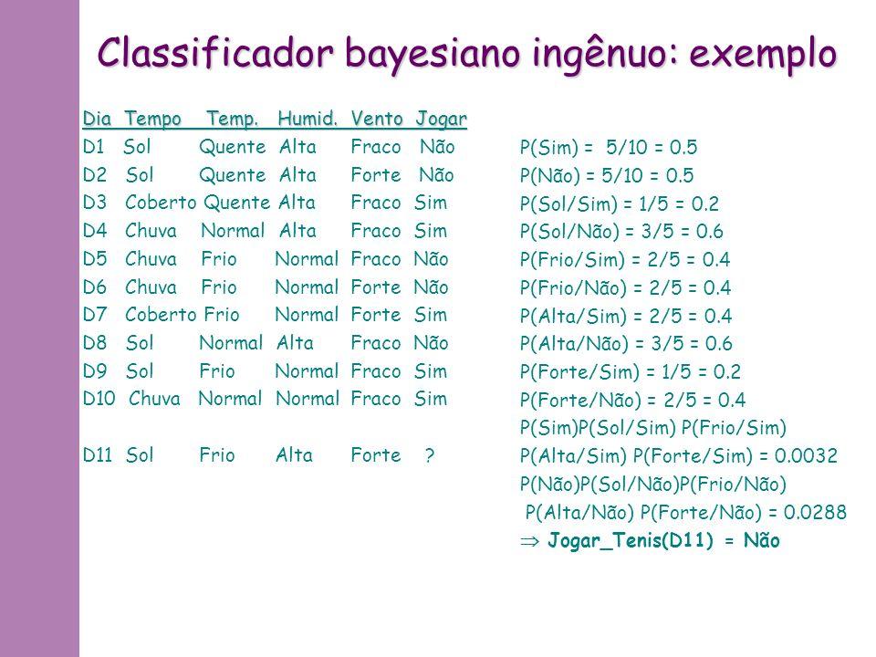 Classificador bayesiano ingênuo: idéia * Conjunto de treinamento = conjunto de pares onde x = (x 1, …, x p ), com x i valore do atributo i de x f(x) V