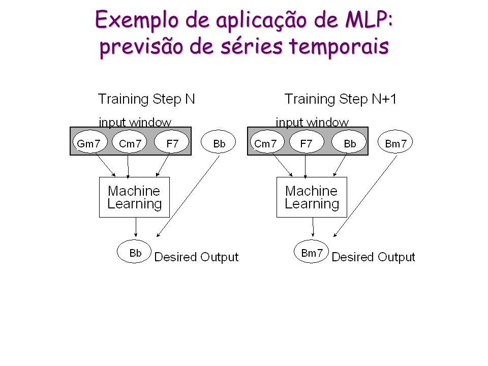 * Multi-Layer Perceptron (MLP) * Exemplos: codificados na camada (nós) de entrada * Classe, previsão ou ação: codificada na camada (nós) de saída * Al