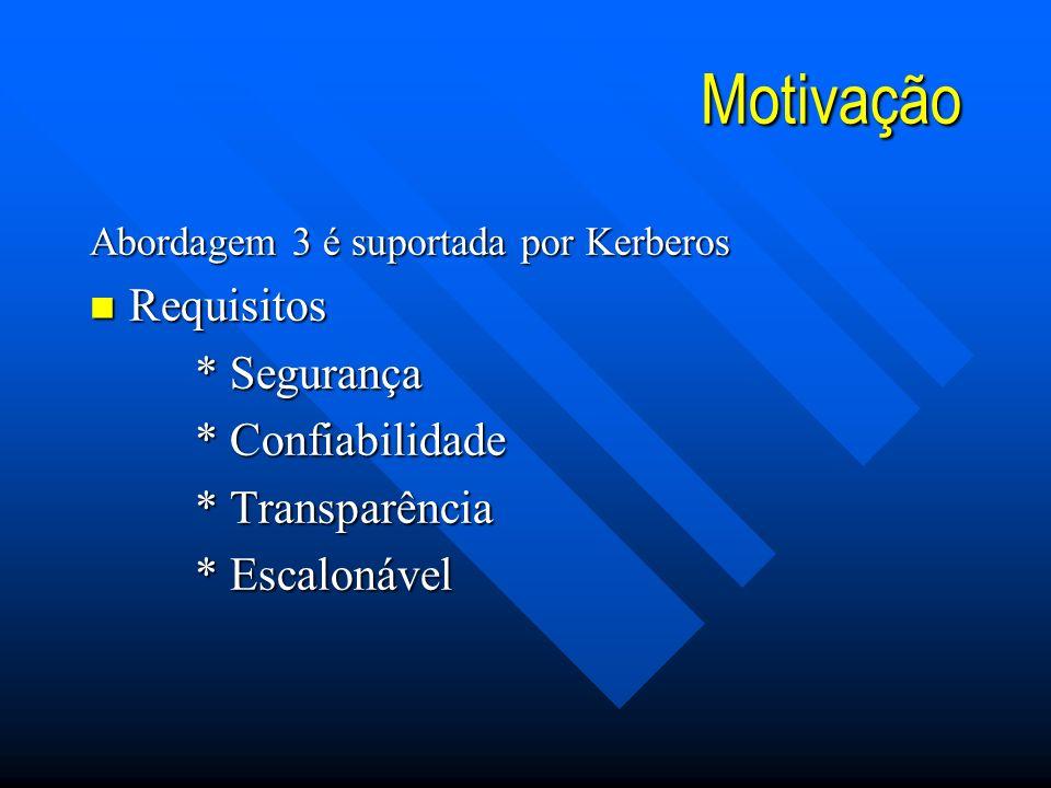 Motivação Abordagem 3 é suportada por Kerberos n Requisitos * Segurança * Confiabilidade * Transparência * Escalonável