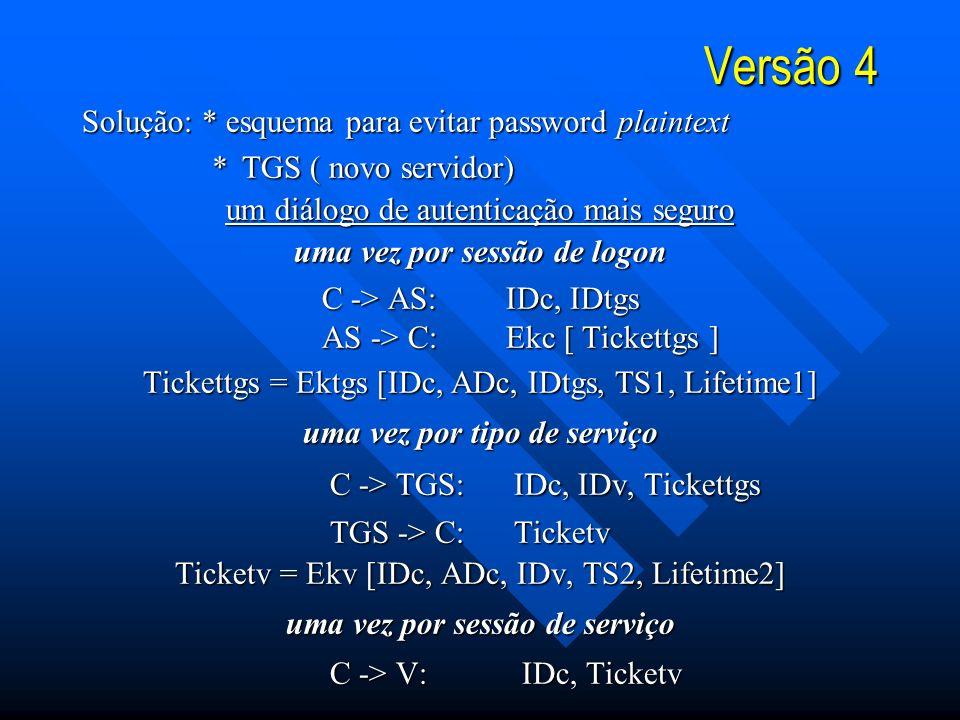 Versão 4 Solução: * esquema para evitar password plaintext * TGS ( novo servidor) * TGS ( novo servidor) um diálogo de autenticação mais seguro uma vez por sessão de logon C -> AS: IDc, IDtgs C -> AS: IDc, IDtgs AS -> C: Ekc [ Tickettgs ] AS -> C: Ekc [ Tickettgs ] Tickettgs = Ektgs [IDc, ADc, IDtgs, TS1, Lifetime1] uma vez por tipo de serviço C -> TGS: IDc, IDv, Tickettgs C -> TGS: IDc, IDv, Tickettgs TGS -> C: Ticketv TGS -> C: Ticketv Ticketv = Ekv [IDc, ADc, IDv, TS2, Lifetime2] uma vez por sessão de serviço C -> V: IDc, Ticketv C -> V: IDc, Ticketv