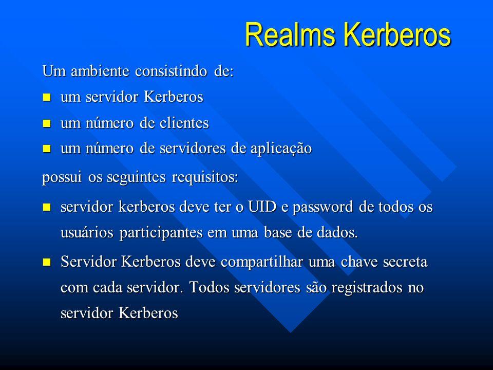 Realms Kerberos Um ambiente consistindo de: n um servidor Kerberos n um número de clientes n um número de servidores de aplicação possui os seguintes requisitos: n servidor kerberos deve ter o UID e password de todos os usuários participantes em uma base de dados.