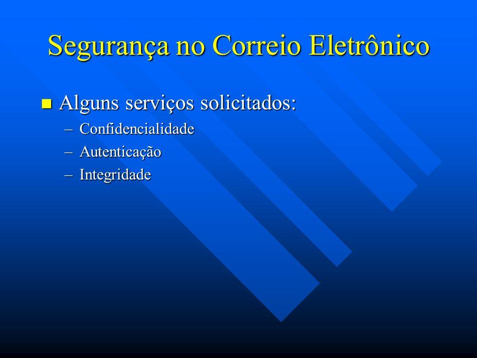 Segurança no Correio Eletrônico n Alguns serviços solicitados: –Confidencialidade –Autenticação –Integridade