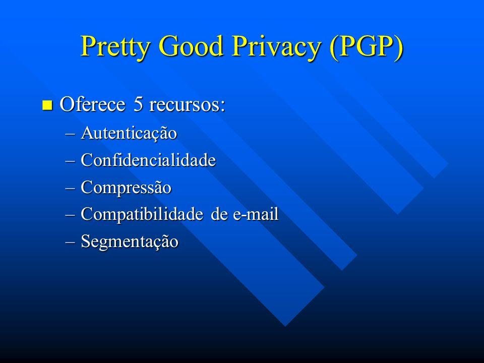 Pretty Good Privacy (PGP) n Oferece 5 recursos: –Autenticação –Confidencialidade –Compressão –Compatibilidade de e-mail –Segmentação