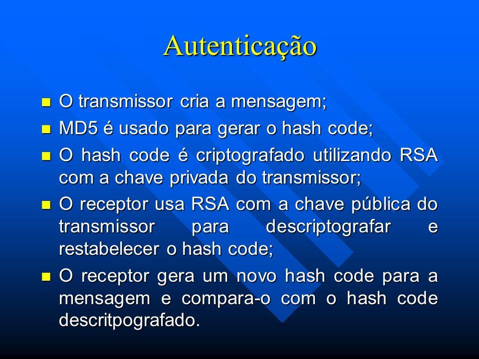 Autenticação n O transmissor cria a mensagem; n MD5 é usado para gerar o hash code; n O hash code é criptografado utilizando RSA com a chave privada do transmissor; n O receptor usa RSA com a chave pública do transmissor para descriptografar e restabelecer o hash code; n O receptor gera um novo hash code para a mensagem e compara-o com o hash code descritpografado.