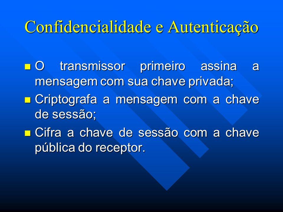 Confidencialidade e Autenticação n O transmissor primeiro assina a mensagem com sua chave privada; n Criptografa a mensagem com a chave de sessão; n Cifra a chave de sessão com a chave pública do receptor.