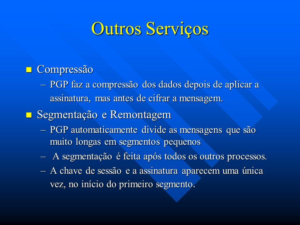 Outros Serviços Compressão Compressão –PGP faz a compressão dos dados depois de aplicar a assinatura, mas antes de cifrar a mensagem.