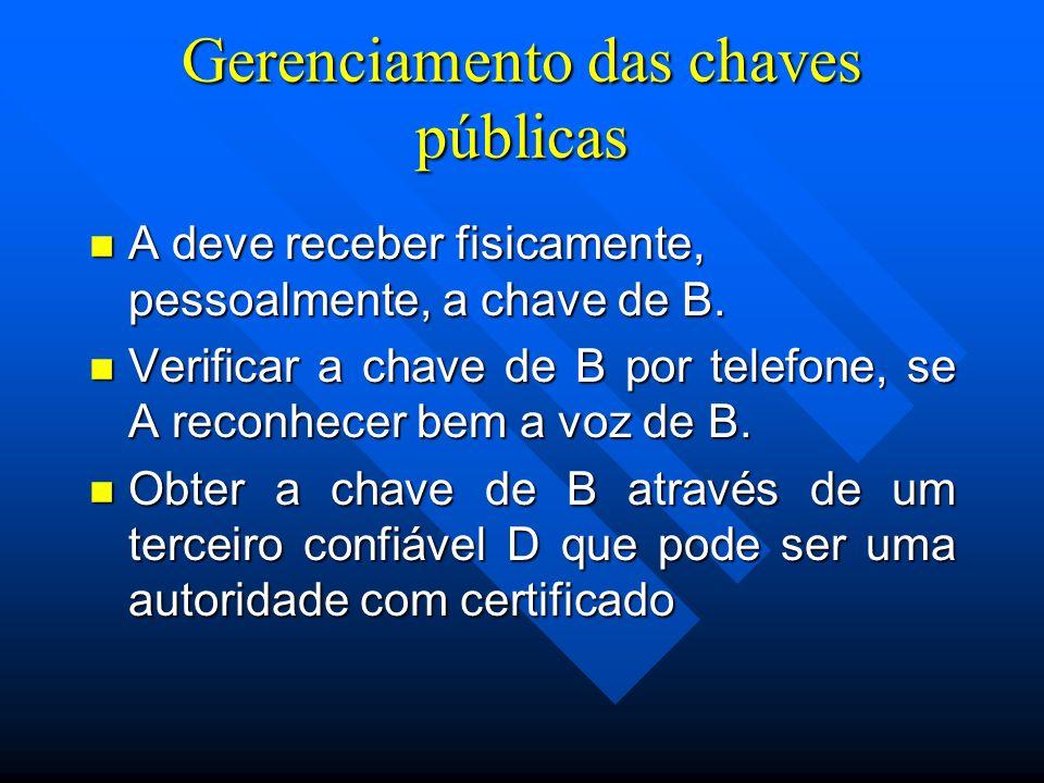 Gerenciamento das chaves públicas n A deve receber fisicamente, pessoalmente, a chave de B.