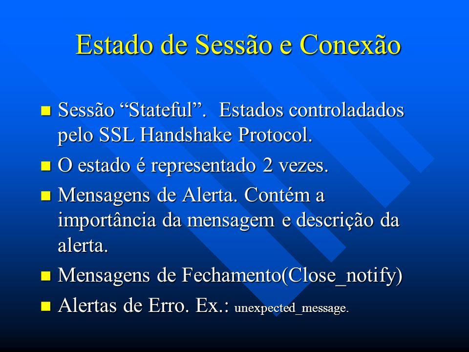 Continuação...n Elementos do estado da sessão: –id da conexão - seq.