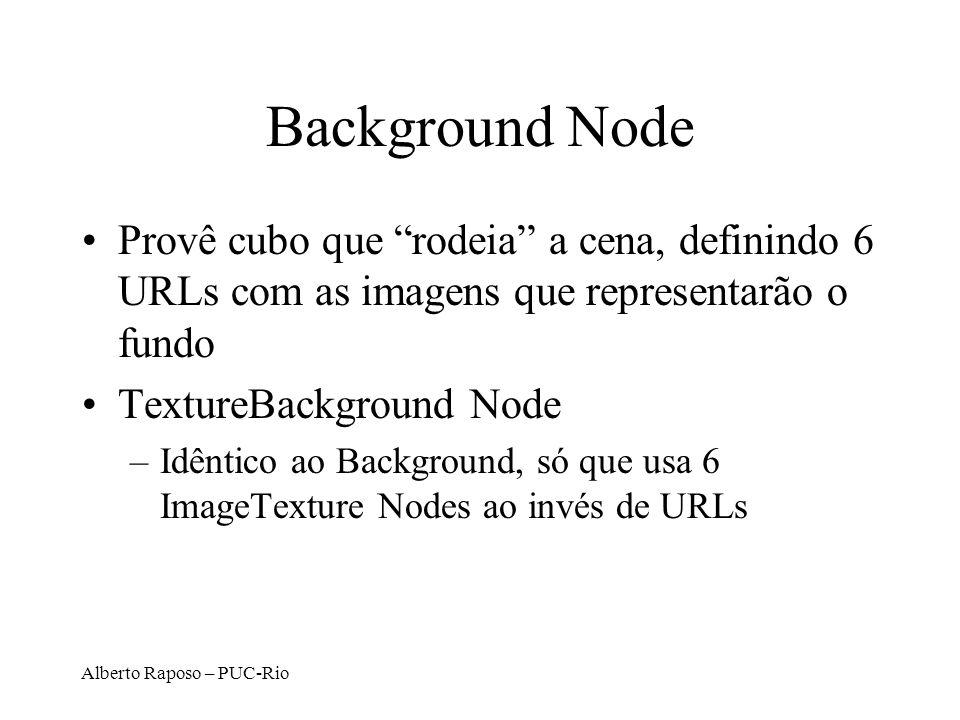 Alberto Raposo – PUC-Rio Background Node Provê cubo que rodeia a cena, definindo 6 URLs com as imagens que representarão o fundo TextureBackground Nod