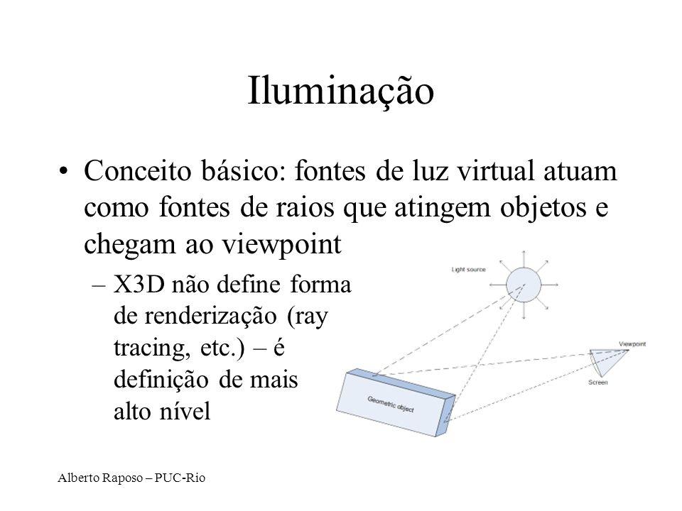 Alberto Raposo – PUC-Rio Iluminação Conceito básico: fontes de luz virtual atuam como fontes de raios que atingem objetos e chegam ao viewpoint –X3D n