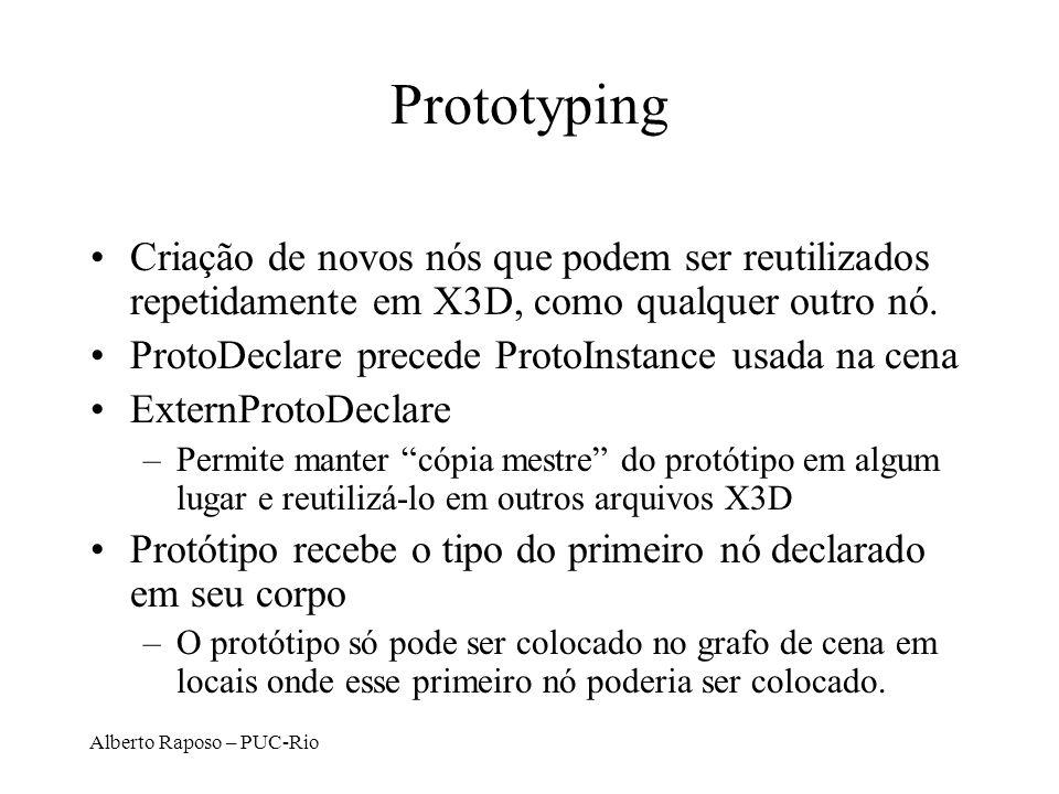 Alberto Raposo – PUC-Rio Prototyping Criação de novos nós que podem ser reutilizados repetidamente em X3D, como qualquer outro nó. ProtoDeclare preced