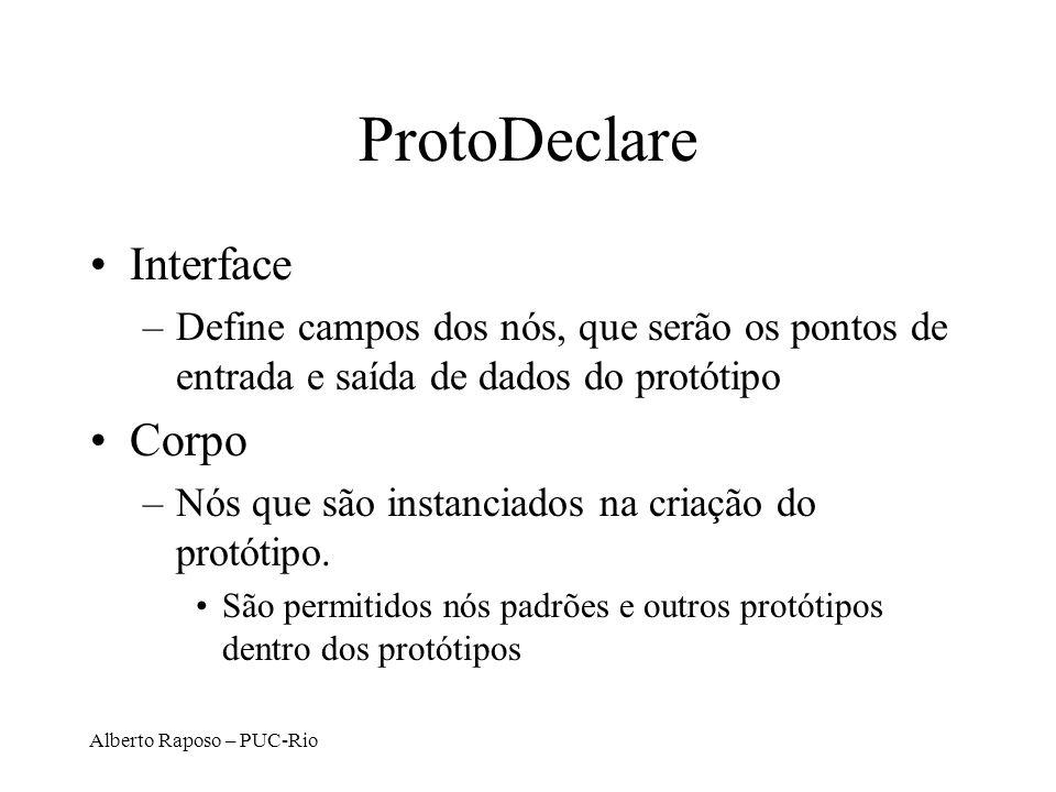 Alberto Raposo – PUC-Rio ProtoDeclare Interface –Define campos dos nós, que serão os pontos de entrada e saída de dados do protótipo Corpo –Nós que sã