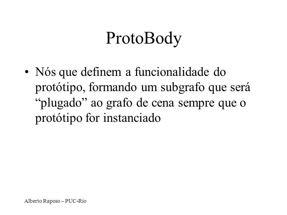 Alberto Raposo – PUC-Rio ProtoBody Nós que definem a funcionalidade do protótipo, formando um subgrafo que será plugado ao grafo de cena sempre que o