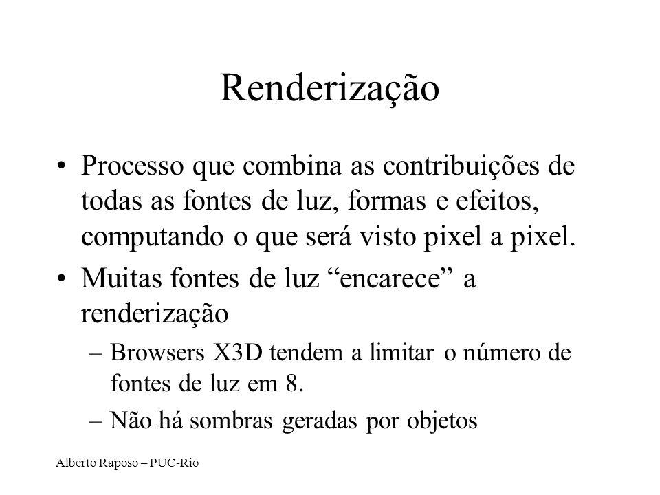 Alberto Raposo – PUC-Rio Renderização Processo que combina as contribuições de todas as fontes de luz, formas e efeitos, computando o que será visto p