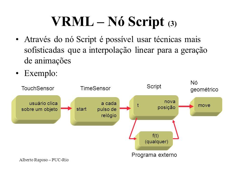Alberto Raposo – PUC-Rio VRML – Nó Script (3) Através do nó Script é possível usar técnicas mais sofisticadas que a interpolação linear para a geração
