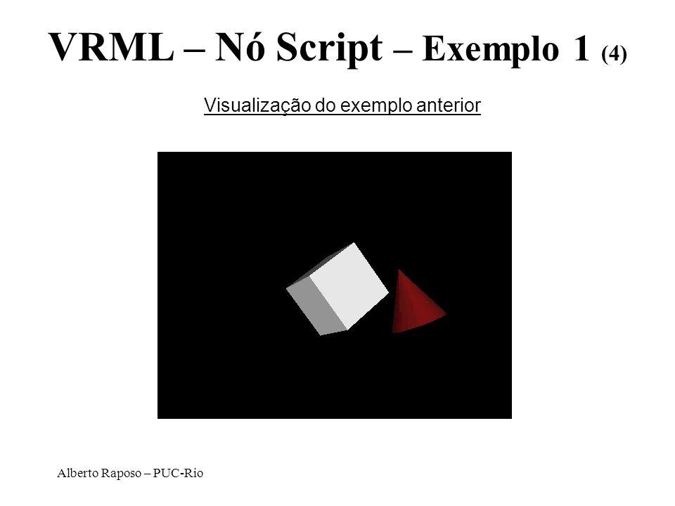 Alberto Raposo – PUC-Rio VRML – Nó Script – Exemplo 1 (4) Visualização do exemplo anterior