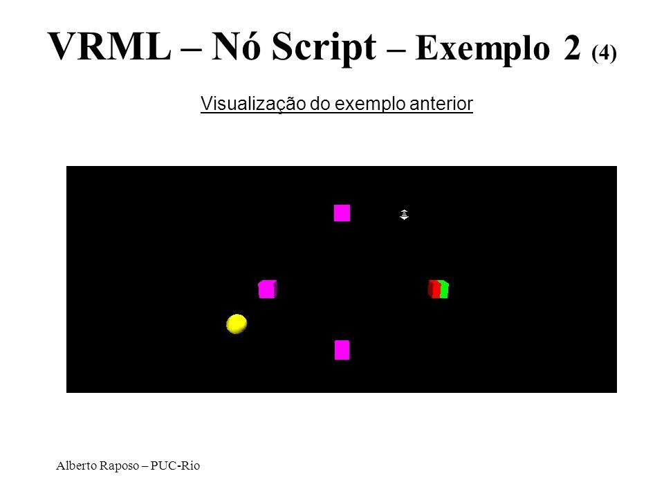 Alberto Raposo – PUC-Rio VRML – Nó Script – Exemplo 2 (4) Visualização do exemplo anterior
