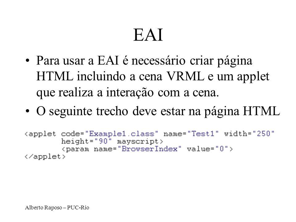 Alberto Raposo – PUC-Rio EAI Para usar a EAI é necessário criar página HTML incluindo a cena VRML e um applet que realiza a interação com a cena. O se