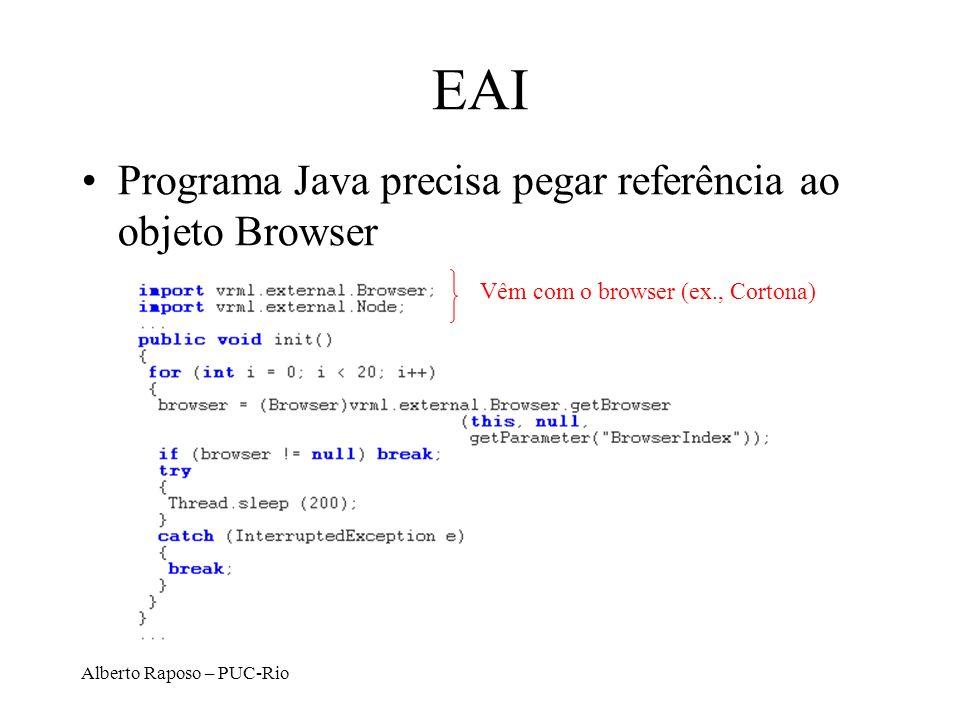 Alberto Raposo – PUC-Rio EAI Programa Java precisa pegar referência ao objeto Browser Vêm com o browser (ex., Cortona)