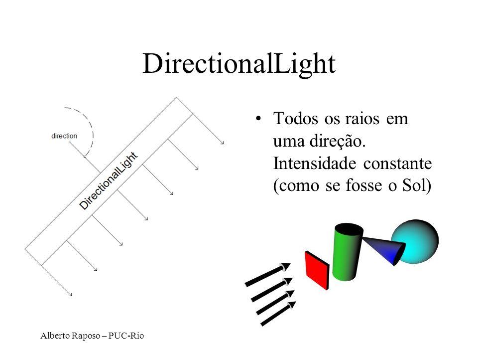 Alberto Raposo – PUC-Rio DirectionalLight Todos os raios em uma direção. Intensidade constante (como se fosse o Sol)