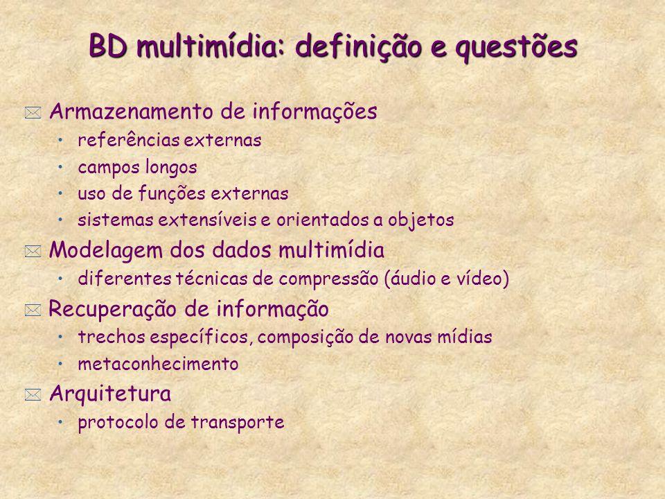 BD multimídia: definição e questões * Armazenamento de informações referências externas campos longos uso de funções externas sistemas extensíveis e o