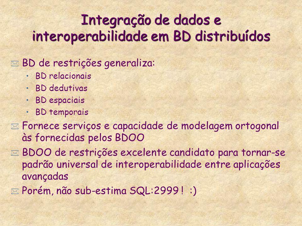 Integração de dados e interoperabilidade em BD distribuídos * BD de restrições generaliza: BD relacionais BD dedutivas BD espaciais BD temporais * For