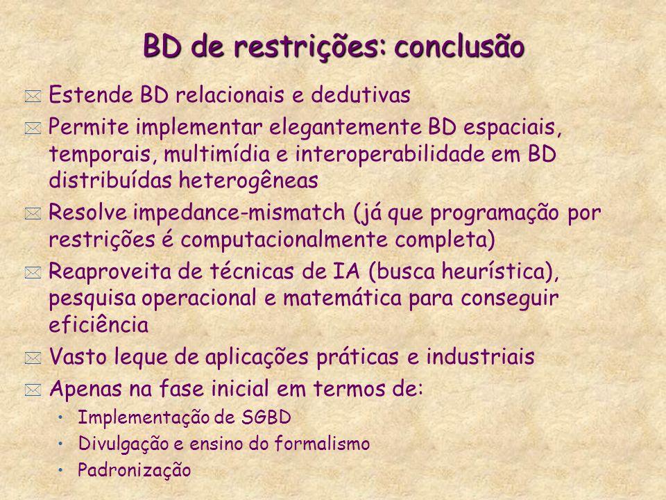 BD de restrições: conclusão * Estende BD relacionais e dedutivas * Permite implementar elegantemente BD espaciais, temporais, multimídia e interoperab